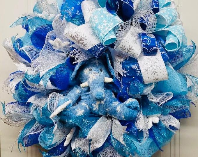 Winter Elephant Wreath, Winter Wreath, Snowflake Wreath, Blue Winter Wreath, Winter Snowflake Wreath, Wreath,Snowflake Decor, Elephant Decor