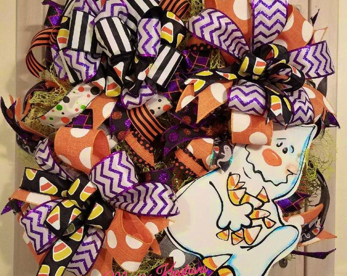 Halloween Candy Corn Ghost Wreath