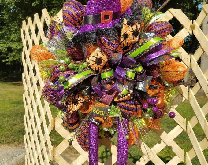 Halloween Wreath, Witch Wreath, Colorful Halloween Wreath, Front Door Wreath, Halloween Decor