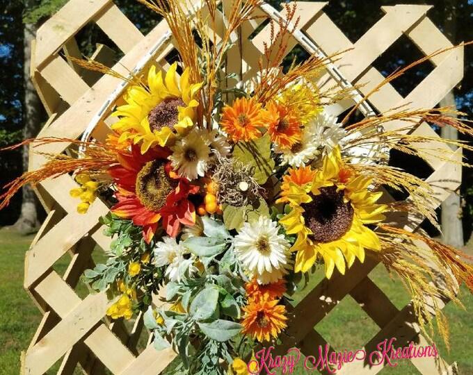 Sunflower Tobacco Basket, Fall Door Hanger, Autumn Door Hanger, Tobacco Basket, Floral Tobacco Basket