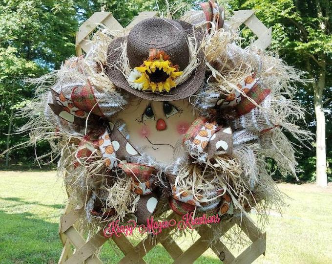 Scarecrow Wreath, Scarecrow Face Wreath,