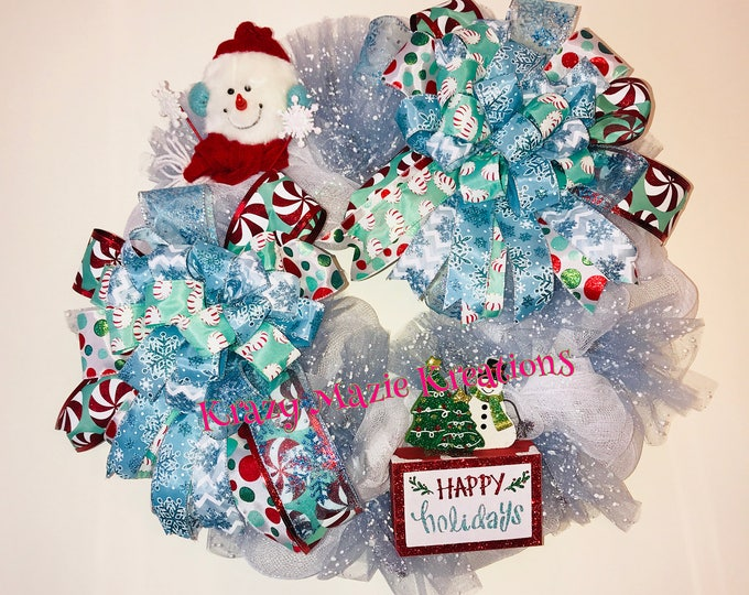 Happy Holiday Snowman Wreath