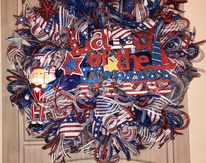 Land of the Free Wreath, Patriotic Wreath, 4th of July Wreath, Summer Wreath