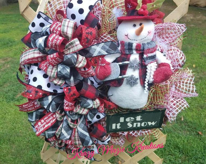 Winter Snowman Wreath, Snowman Wreath, Winter Wreath, Holiday Wreath, Christmas Wreath, Winter Door Decor