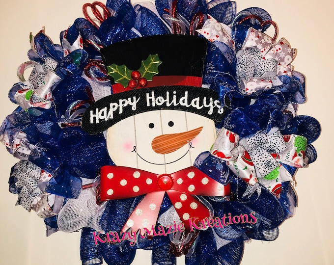 Happy Holidays Snowman Winter Wreath