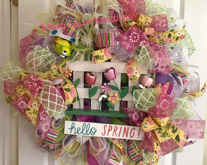 Hello Spring Front Door Wreath