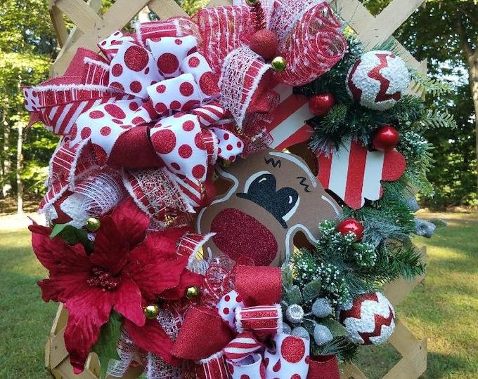 Christmas Wreath, Front Door Wreath, Christmas Front Door Wreath, Whimsical Front Door Wreath