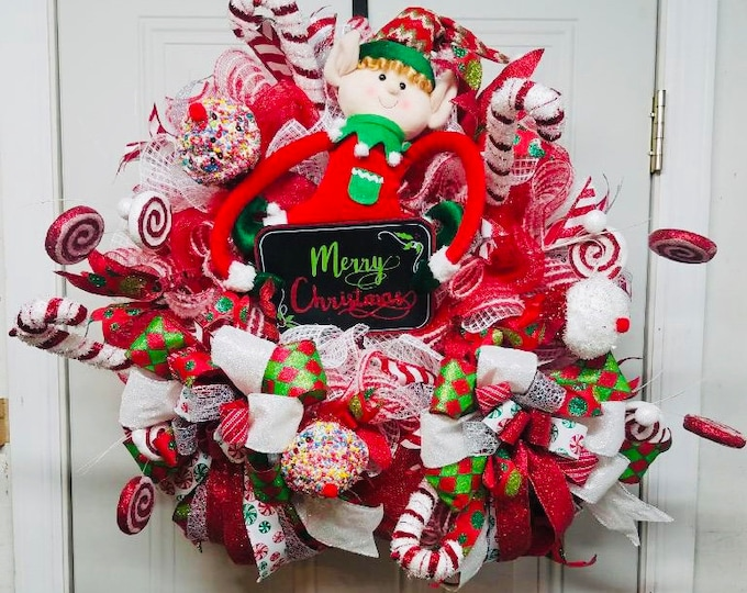 Elf Wreath, Christmas Wreath, Holiday Wreath, Elf Door Decor, Elf Door Decor, Front Door Decor, Front Door Wreath, Cupcake/ Peppermint