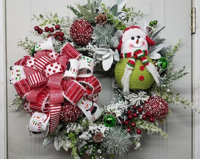 Winter Snowman Wreath, Winter Wreath, Snowman Wreath, Holiday Wreath, Christmas Wreath, Christmas Snowman