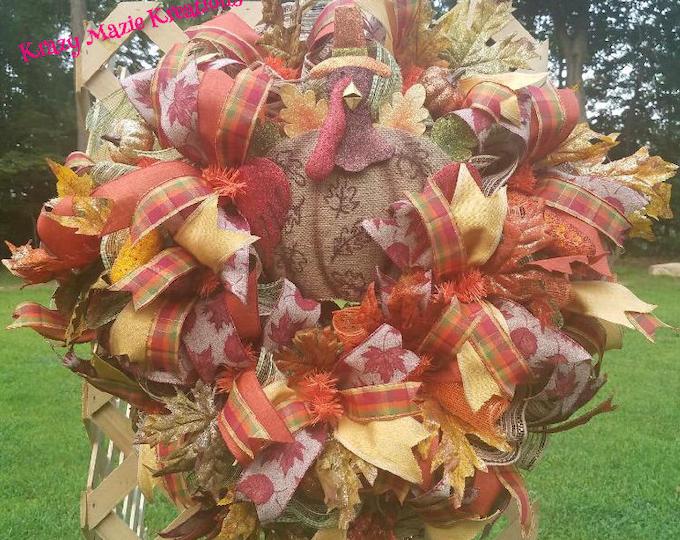 Autumn Turkey Wreath, Thanksgiving Wreath, Fall Turkey Wreath