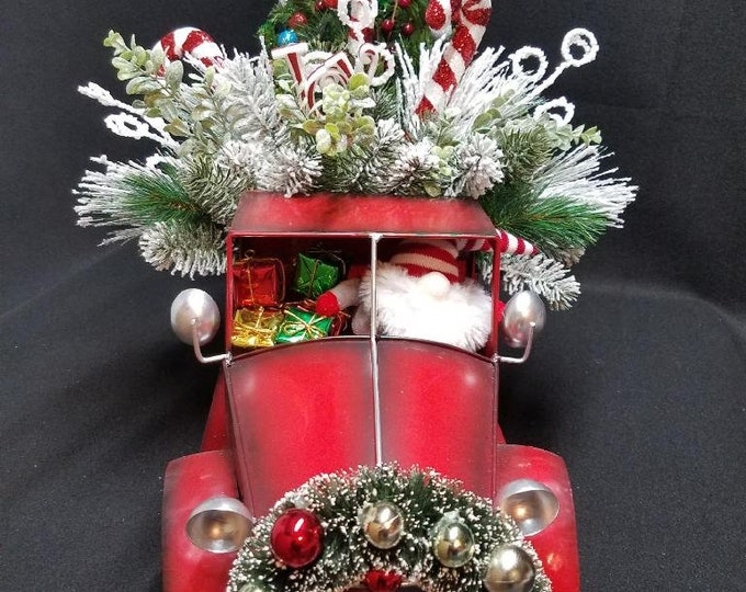 Christmas Red Truck Centerpiece, Red Truck Centerpiece, Christmas Centerpiece, Gnome Centerpiece, Red Truck, Centerpiece, Gnome, Red Truck