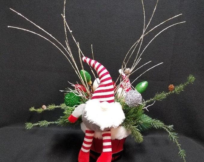 Winter Gnome Centerpiece, Winter Centerpiece, Gnome Centerpiece, Holiday Centerpiece, Christmas Centerpiece, Gnome Tabletop