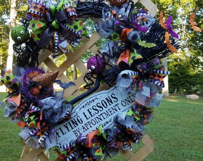 Halloween Witch Wreath, Halloween Wreath, Flying Lessons Witch Wreath,