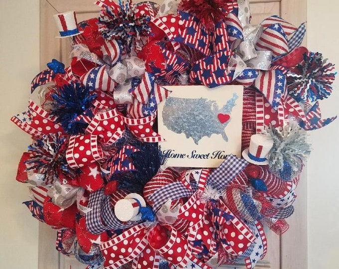 Patriot Wreath, Memorial Day Wreath, July 4th, Home Sweet Home Wreath, Front Door Wreath