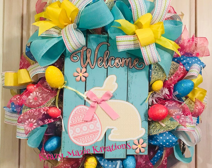 Welcome Bunny Easter Wreath