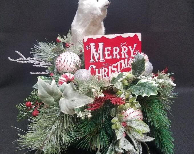 Polar Bear on Sled Centerpiece, Polar Bear Centerpiece, Centerpiece, Winter Centerpiece, Polar Bear Decor, Home Decor, Sled Centerpiece