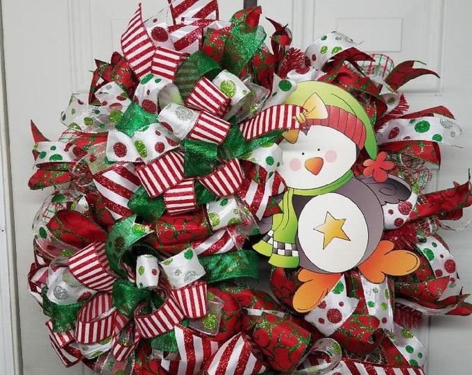 Winter Wreath, Winter Penguin Wreath, Christmas Penguin Wreath, Christmas Wreath, Holiday Wreath, Penguin Wreath, Holiday Penguin Wreath