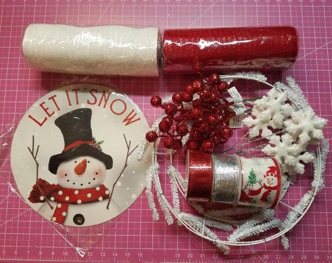Winter Wreath Kit, Let It Snow Wreath Kit, Snowman Wreath Kit, Snowman, Making a Wreath Kit, Making A Winter Wreath Kit, Snowman Wreath