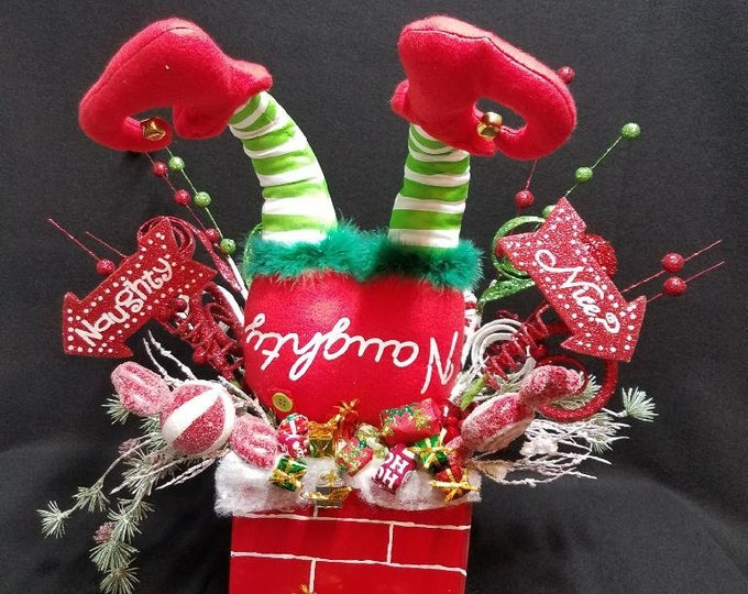 Elf Stuck in Chimney, Christmas Elf Centerpiece, Christmas Centerpiece, Elf Centerpiece, Centerpiece, Tabletop Centerpiece
