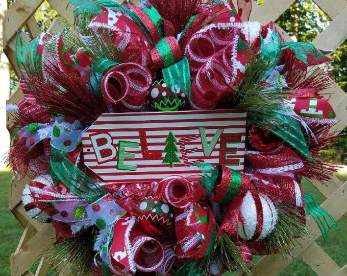 Christmas Wreath, Believe Wreath, Holiday Wreath, Christmas Front Door Decor, Holiday Decor