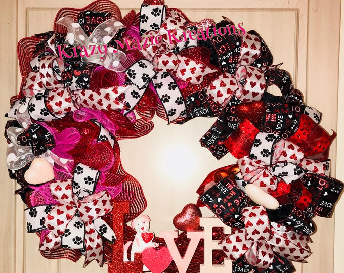 Love Dog Paw Wreath