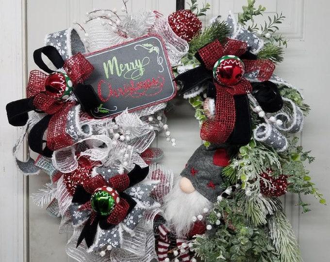 Christmas Gnome Wreath, Merry Christmas Wreath, Christmas Wreath, Gnome Wreath, Christmas Grapevine Wreath, Grapevine Wreath