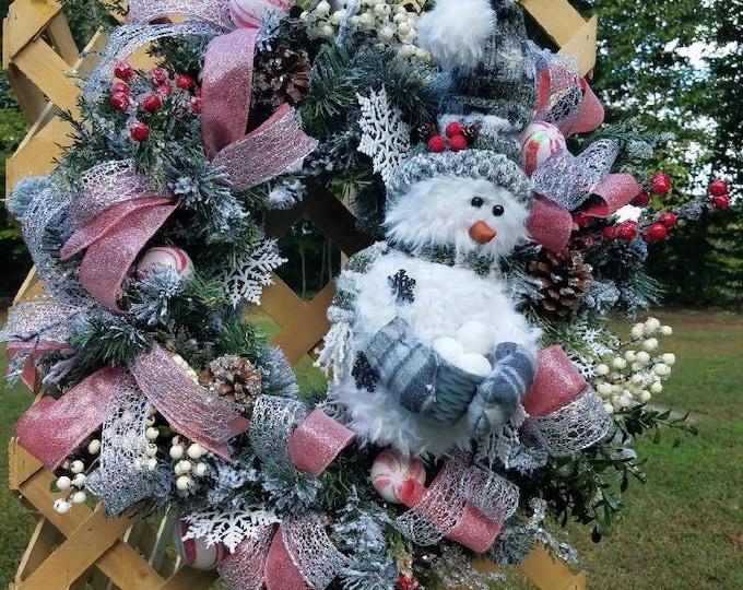Christmas Snowman Wreath, Christmas Snowman Front Door Decor, Winter Snowman Wreath, Winter Snowman Decor, Front Door Decor
