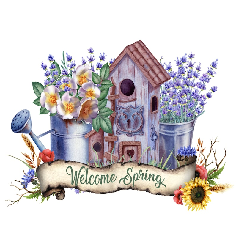 Wreath Sign Welcome Signs Birdhouse Sign Welcome Spring Birdhouse Sign Craft Embellishments Spring Flowers Wreath Sign