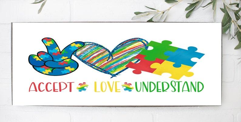Autism Awareness Sign Puzzle Piece Sign Craft Embellishments Awareness Sign Accept Love Understand Sign Wreath Sign