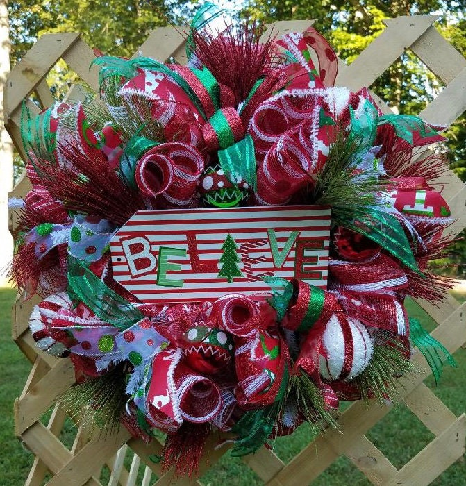 christmas wreath believe wreath holiday wreath christmas front door decor holiday decor - Christmas Front Door Decor