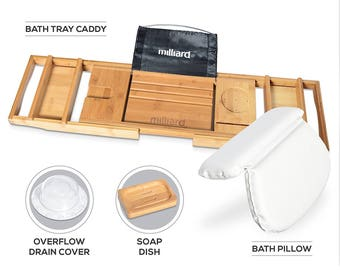 Bath Spa Kit, Bamboo Bath Caddy, Pillow & Overflow Drain Cover