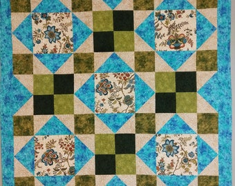 Handmade Quilted Wall Hanging in Turquoise and Greens