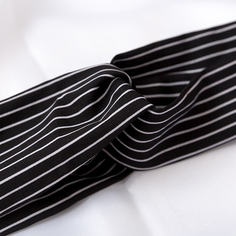 Cross Knot Elastic Hair Bands Black with White Stripe