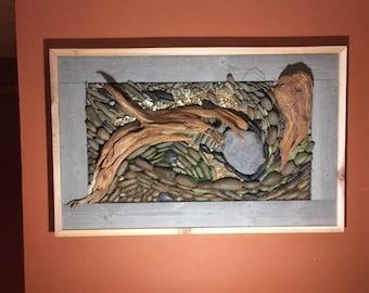 """Wall Art """"Surface"""" Reclaimed Cedar & Stone"""