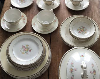 Homer Laughlin Georgian Eggshell China Set - 45 Pieces - Floral Rose Gold Trim
