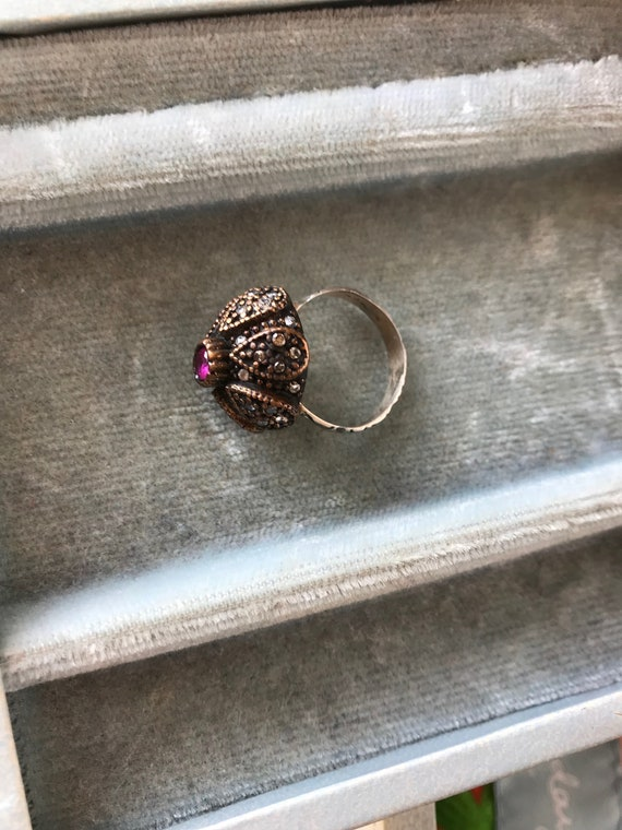 Antique Silver Victorian Ring With Ruby And White… - image 2