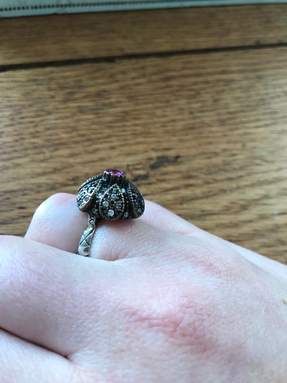 Antique Silver Victorian Ring With Ruby And White… - image 7