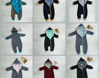 Walkoverall / Walksuit / Suit in Wollwalk, virgin wool, Walkloden Gr 50 - 122 with large selection of fabrics handmade