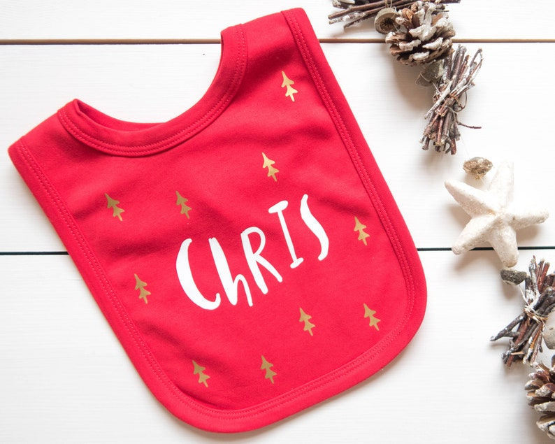 PERSONALISED FIRST CHRISTMAS BIB NEWBORN BABY XMAS GIFT STOCKING FILLER ANY YEAR