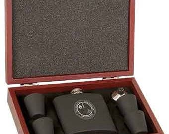 6 oz. Matte Black Laserable Stainless Steel Flask Set in RoseWood finish Presentation Box