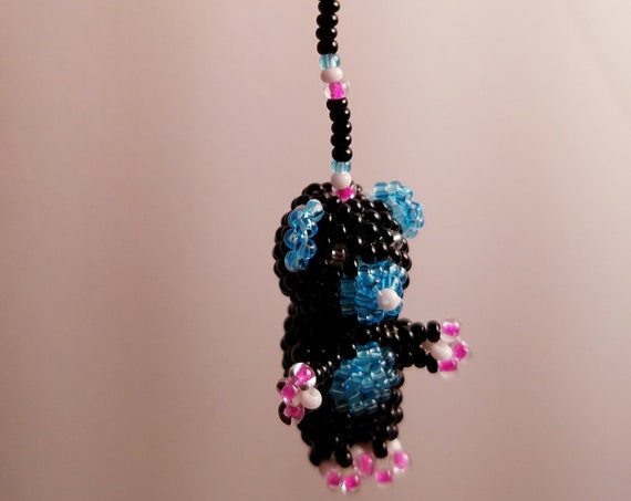 Hand Beaded Bears, Glass Bead Bear Ornament