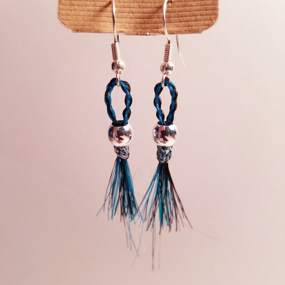Hand Braided and Beaded Horse Hair Earrings