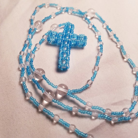 Hand Beaded Glass Rosary, Catholic/ Christian Prayer beaded Necklace