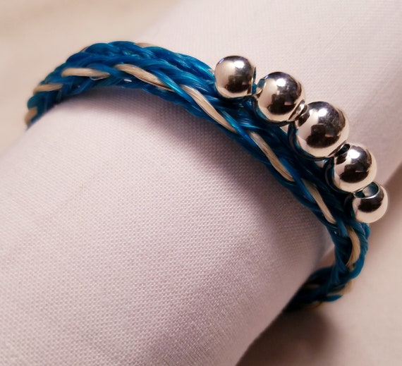 Hand Braided and Beaded Horse Hair Bracelet