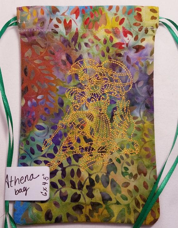 Rainbow batik Goddess Athena Drawstring Bag, Rune Tarot Bag