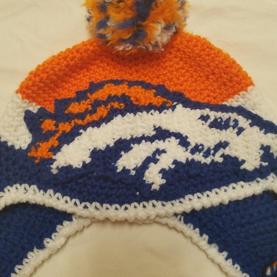 Crochet Broncos Hat, Warm, Fan, Broncos Country, Blue Orange