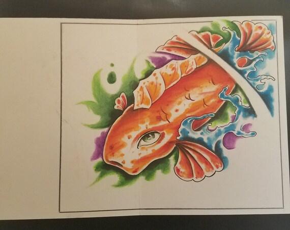 Thinking of you Card, hand drawn, artwork, Koi Fish, Water