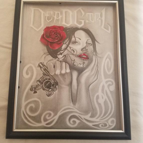 Dead Girl Drawing, Art, Dia de los Muertos, Tattoo artwork