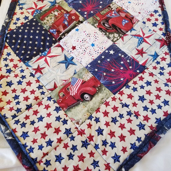 4th of July Stars and Stripes,Point Table Runner, America's Independence Day Table Decoration, Patriotic Table Runner