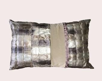 Flocked velvet purple and grey silk cushion